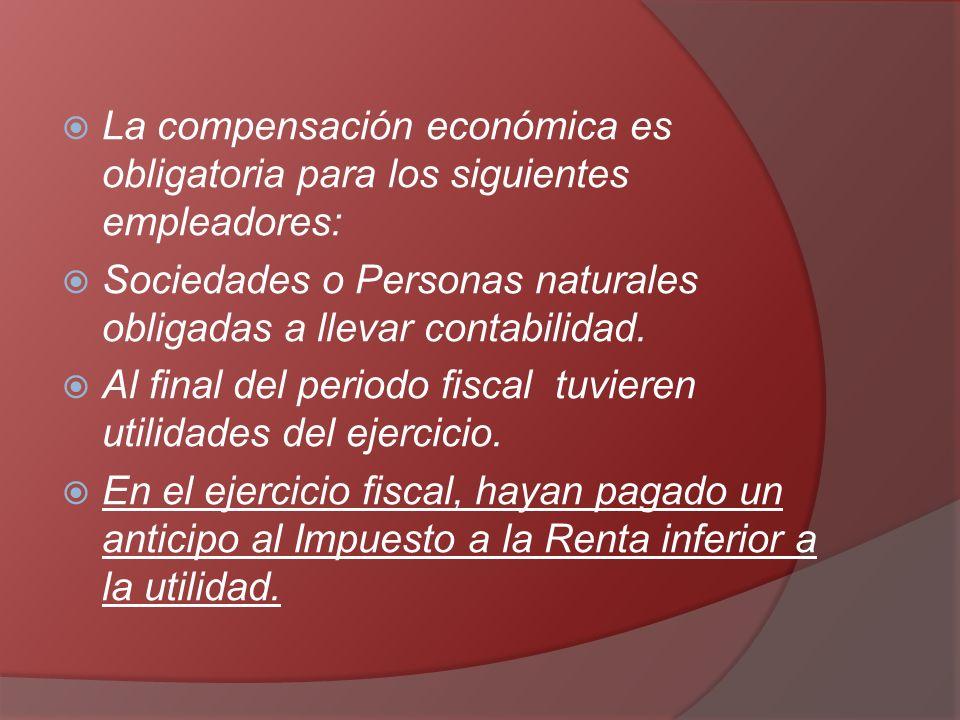 La compensación económica es obligatoria para los siguientes empleadores: Sociedades o Personas naturales obligadas a llevar contabilidad. Al final de