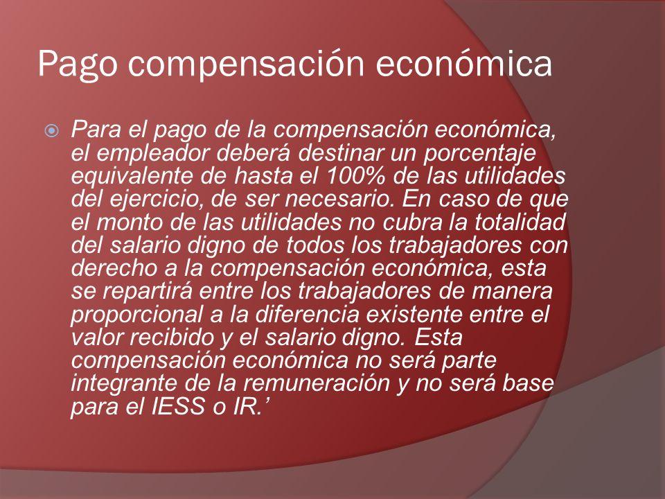 Pago compensación económica Para el pago de la compensación económica, el empleador deberá destinar un porcentaje equivalente de hasta el 100% de las utilidades del ejercicio, de ser necesario.