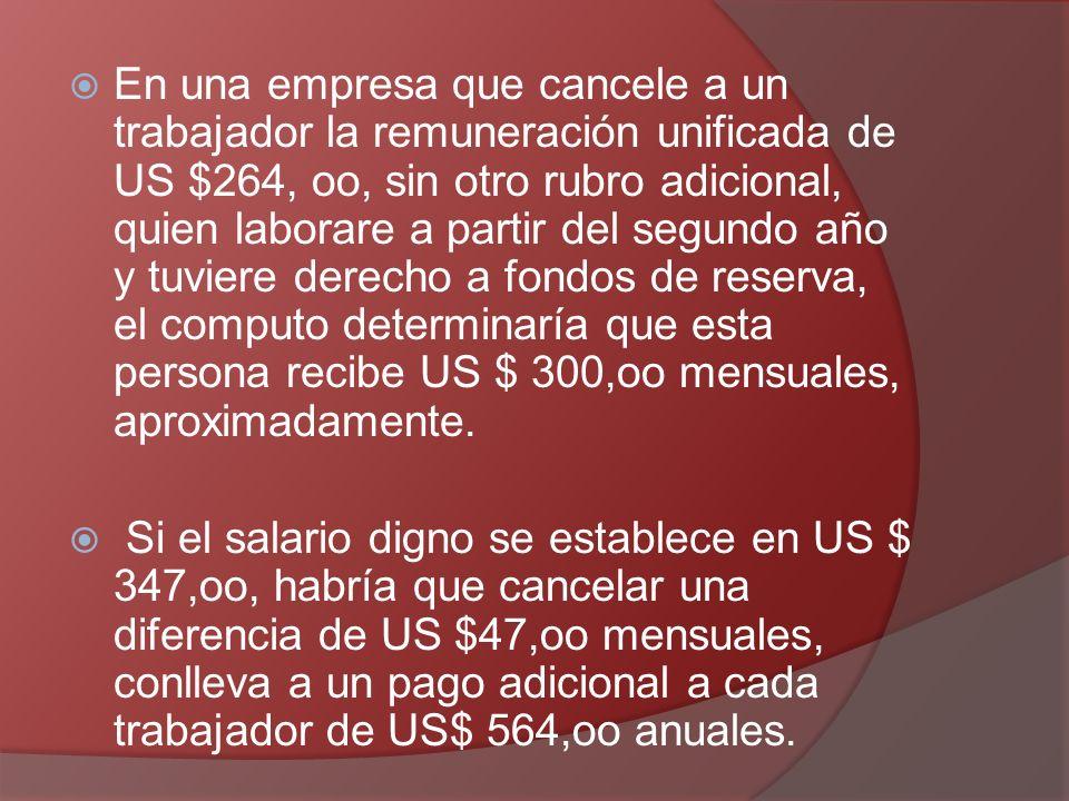 En una empresa que cancele a un trabajador la remuneración unificada de US $264, oo, sin otro rubro adicional, quien laborare a partir del segundo año