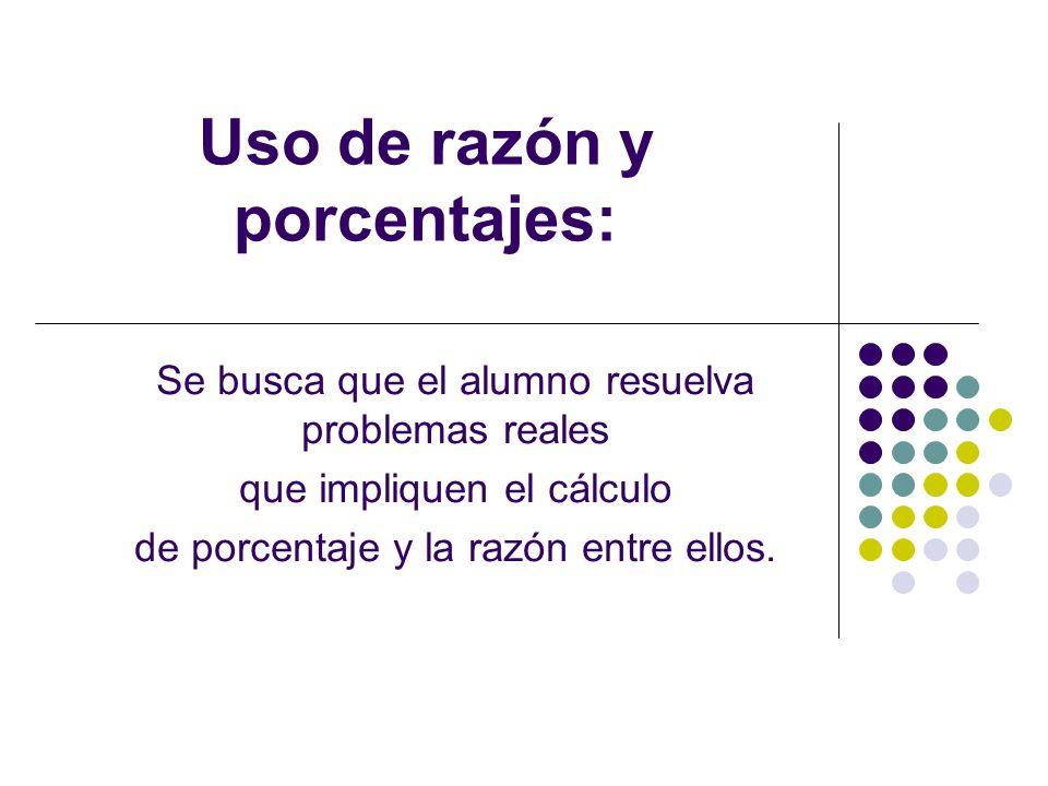Uso de razón y porcentajes: Se busca que el alumno resuelva problemas reales que impliquen el cálculo de porcentaje y la razón entre ellos.
