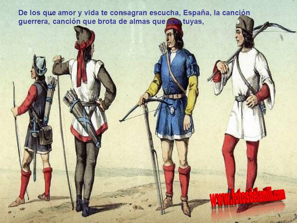 y la sangre enemiga en sus espadas y la española sangre derramada tu nombre y tus hazañas cantarán.