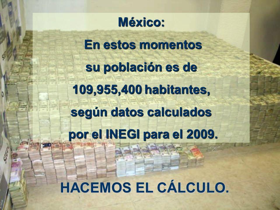 México: En estos momentos En estos momentos su población es de 109,955,400 habitantes, según datos calculados por el INEGI para el 2009.