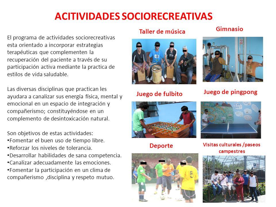 ACITIVIDADES SOCIORECREATIVAS El programa de actividades sociorecreativas esta orientado a incorporar estrategias terapéuticas que complementen la rec