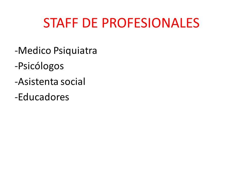 STAFF DE PROFESIONALES -Medico Psiquiatra -Psicólogos -Asistenta social -Educadores