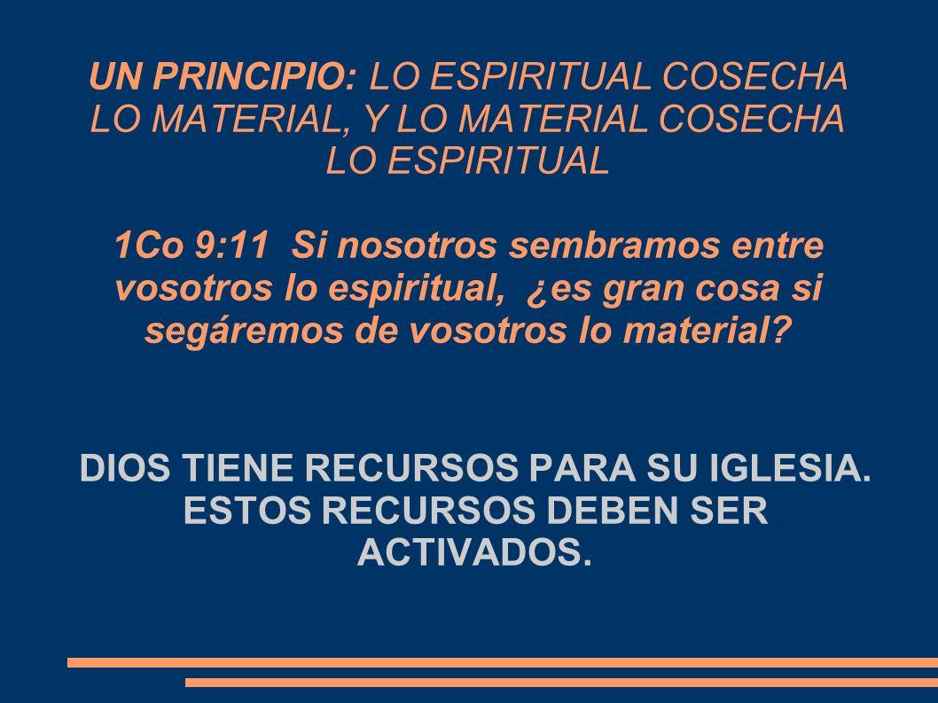 UN PRINCIPIO: LO ESPIRITUAL COSECHA LO MATERIAL, Y LO MATERIAL COSECHA LO ESPIRITUAL 1Co 9:11 Si nosotros sembramos entre vosotros lo espiritual, ¿es