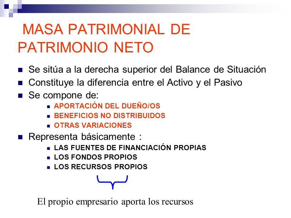 MASA PATRIMONIAL DE PATRIMONIO NETO Se sitúa a la derecha superior del Balance de Situación Constituye la diferencia entre el Activo y el Pasivo Se co