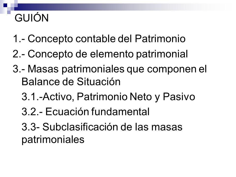 GUIÓN 1.- Concepto contable del Patrimonio 2.- Concepto de elemento patrimonial 3.- Masas patrimoniales que componen el Balance de Situación 3.1.-Acti