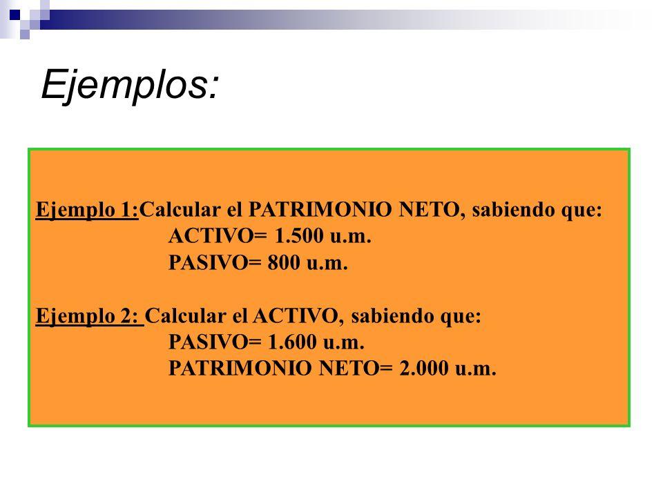 Ejemplos: Ejemplo 1:Calcular el PATRIMONIO NETO, sabiendo que: ACTIVO= 1.500 u.m. PASIVO= 800 u.m. Ejemplo 2: Calcular el ACTIVO, sabiendo que: PASIVO