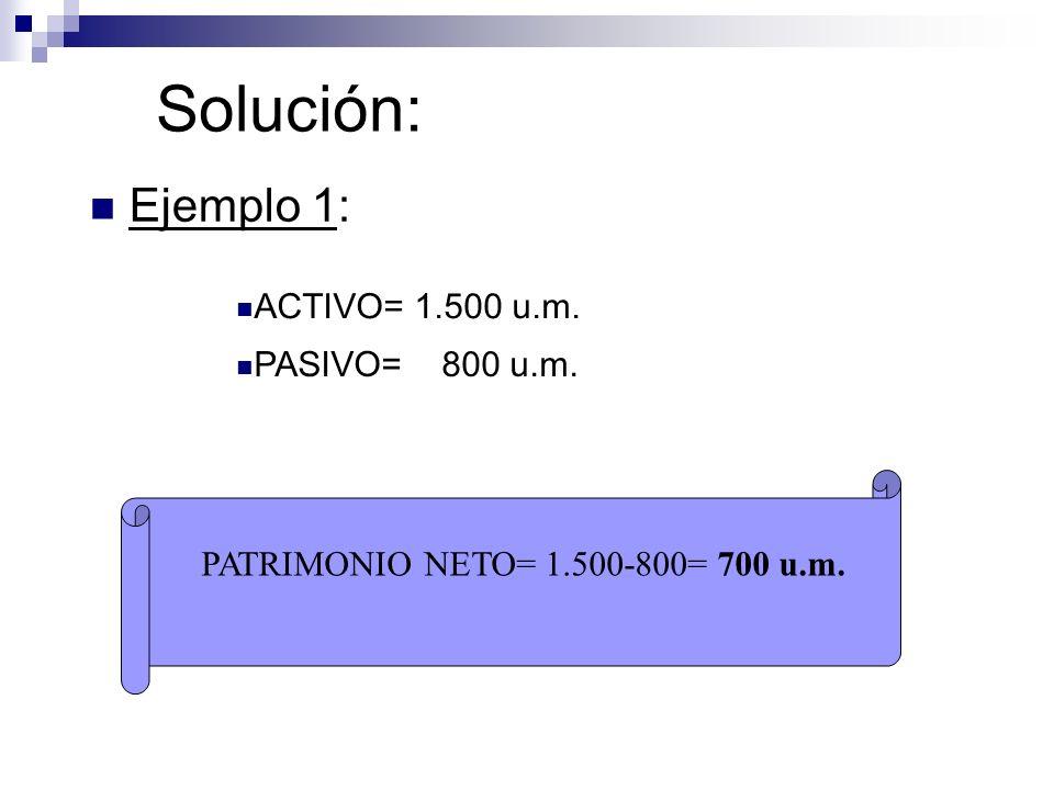 Solución: Ejemplo 1: ACTIVO= 1.500 u.m. PASIVO= 800 u.m. PATRIMONIO NETO= 1.500-800= 700 u.m.