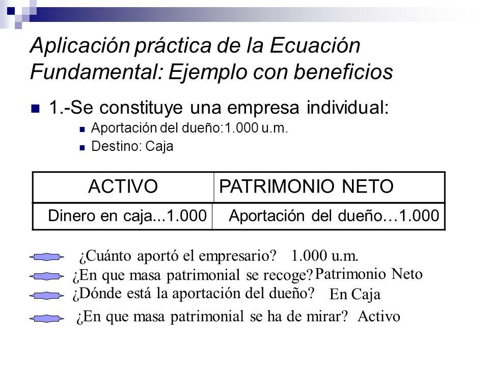Aplicación práctica de la Ecuación Fundamental: Ejemplo con beneficios 1.-Se constituye una empresa individual: Aportación del dueño:1.000 u.m. Destin