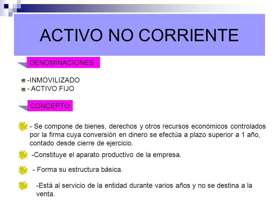 ACTIVO NO CORRIENTE DENOMINACIONES -INMOVILIZADO - ACTIVO FIJO CONCEPTO - Se compone de bienes, derechos y otros recursos económicos controlados por l