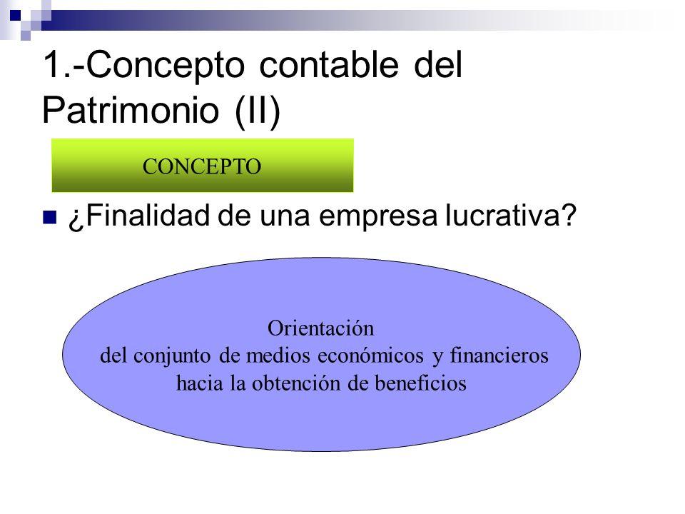 1.-Concepto contable del Patrimonio (II) ¿Finalidad de una empresa lucrativa? CONCEPTO Orientación del conjunto de medios económicos y financieros hac