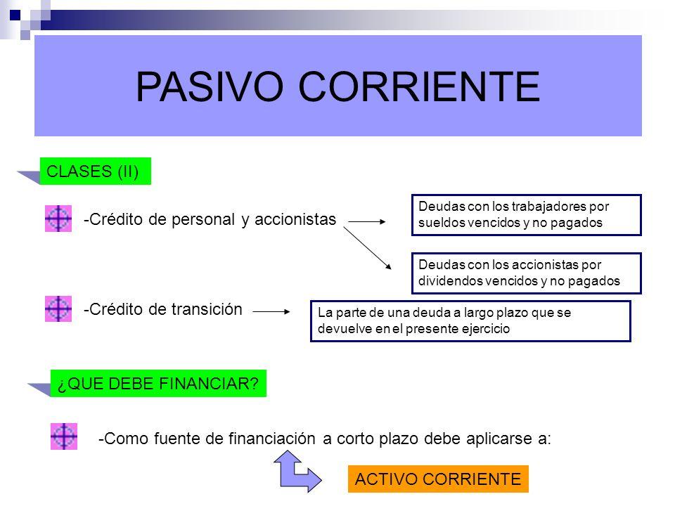 PASIVO CORRIENTE CLASES (II) -Crédito de personal y accionistas Deudas con los accionistas por dividendos vencidos y no pagados -Crédito de transición