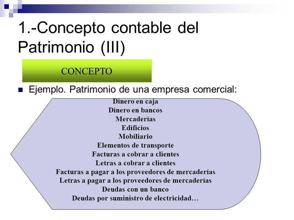 1.-Concepto contable del Patrimonio (III) Ejemplo. Patrimonio de una empresa comercial: CONCEPTO Dinero en caja Dinero en bancos Mercaderías Edificios