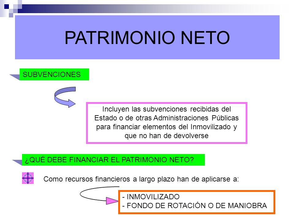 PATRIMONIO NETO SUBVENCIONES Incluyen las subvenciones recibidas del Estado o de otras Administraciones Públicas para financiar elementos del Inmovili