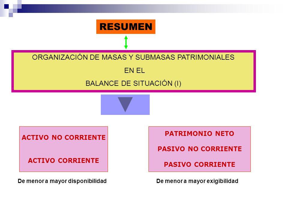 ORGANIZACIÓN DE MASAS Y SUBMASAS PATRIMONIALES EN EL BALANCE DE SITUACIÓN (I) RESUMEN PATRIMONIO NETO PASIVO NO CORRIENTE PASIVO CORRIENTE ACTIVO NO C