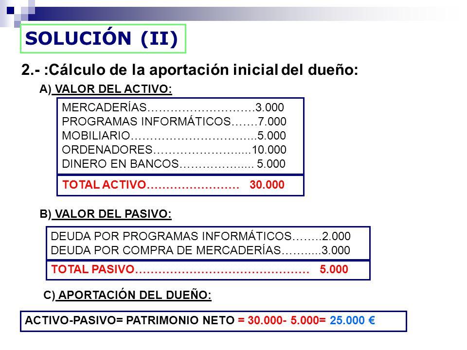 2.- :Cálculo de la aportación inicial del dueño: SOLUCIÓN (II) A) VALOR DEL ACTIVO: MERCADERÍAS……………………….3.000 PROGRAMAS INFORMÁTICOS…….7.000 MOBILIAR