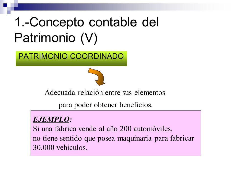 1.-Concepto contable del Patrimonio (V) PATRIMONIO COORDINADO Adecuada relación entre sus elementos para poder obtener beneficios. EJEMPLO: Si una fáb