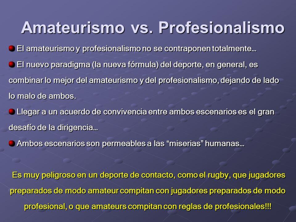 Amateurismo vs. Profesionalismo Informalidad y desorden Informalidad y desorden Poca responsabilidad Poca responsabilidad Chapuzas y débil compromiso