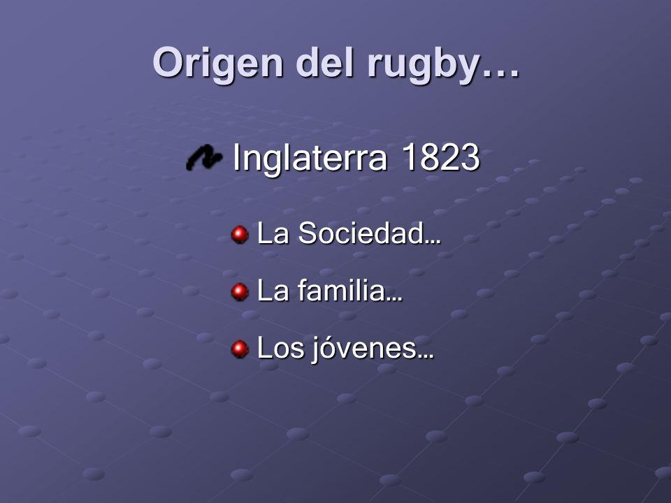 Origen del rugby… Inglaterra 1823 Inglaterra 1823 La Sociedad… La Sociedad… La familia… La familia… Los jóvenes… Los jóvenes…