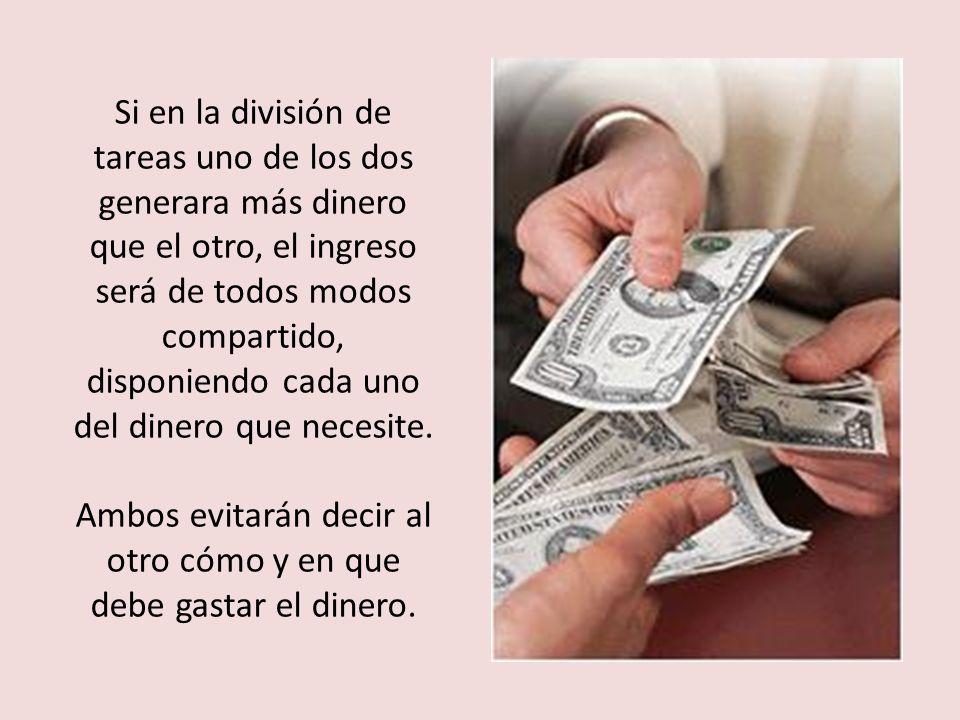 5- Dinero: Marido y mujer compartirán a partes iguales la responsabilidad de los gastos, cada uno conservará su cuenta bancaria y abrirán una comparti