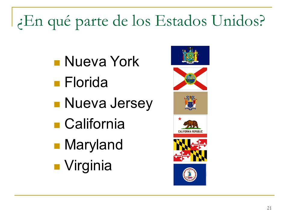 21 ¿En qué parte de los Estados Unidos? Nueva York Florida Nueva Jersey California Maryland Virginia