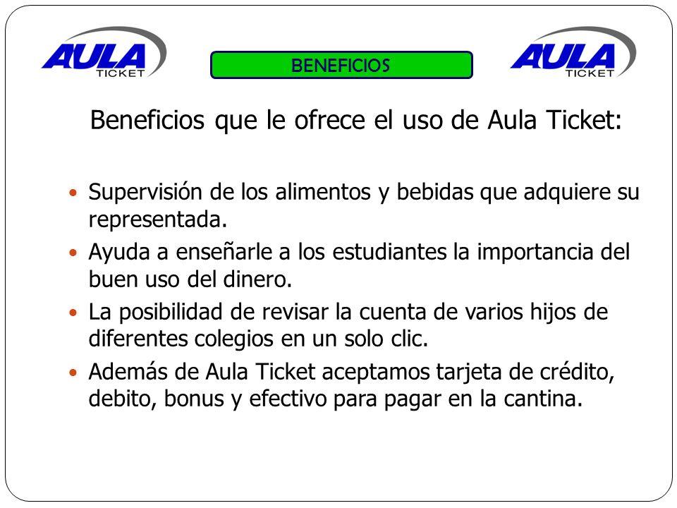 BENEFICIOS Beneficios que le ofrece el uso de Aula Ticket: Supervisión de los alimentos y bebidas que adquiere su representada.