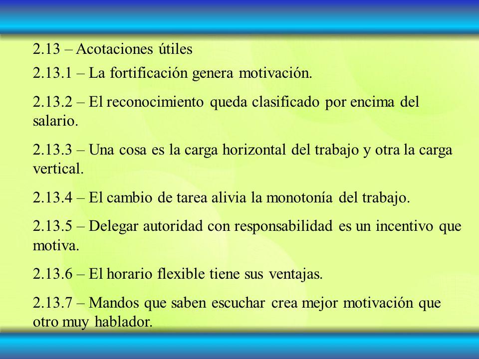 2.13 – Acotaciones útiles 2.13.1 – La fortificación genera motivación.