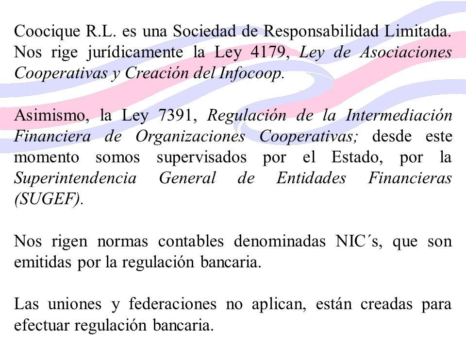 Coocique R.L. es una Sociedad de Responsabilidad Limitada. Nos rige jurídicamente la Ley 4179, Ley de Asociaciones Cooperativas y Creación del Infocoo