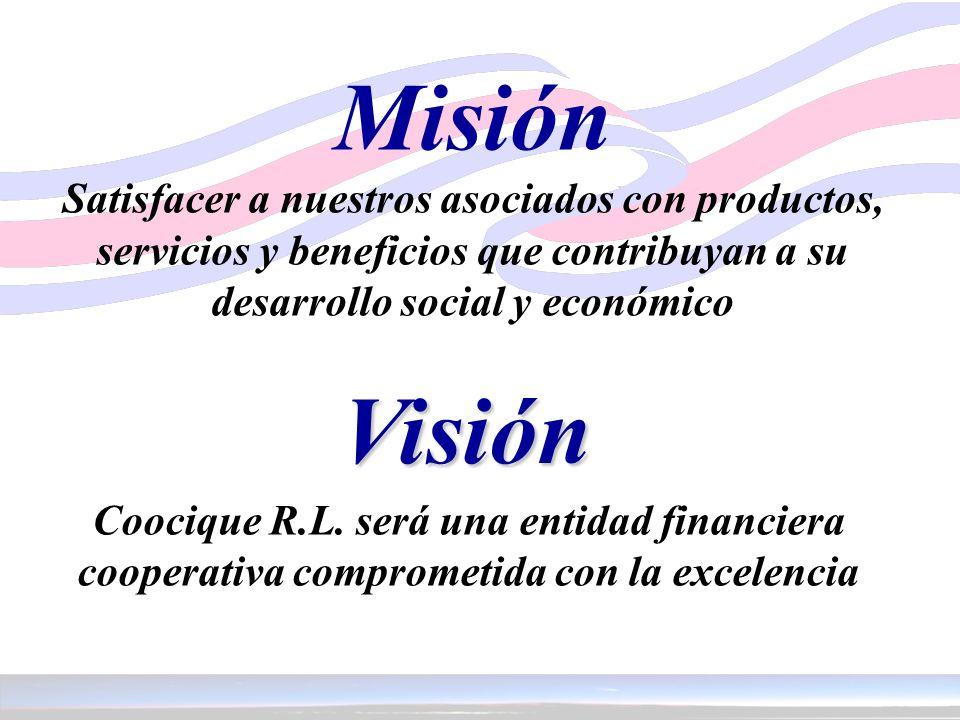 Misión Satisfacer a nuestros asociados con productos, servicios y beneficios que contribuyan a su desarrollo social y económico Visión Coocique R.L. s