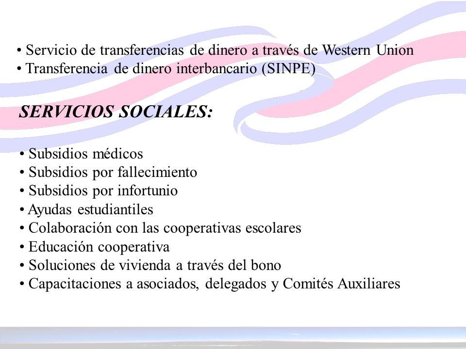 Servicio de transferencias de dinero a través de Western Union Transferencia de dinero interbancario (SINPE) SERVICIOS SOCIALES: Subsidios médicos Sub