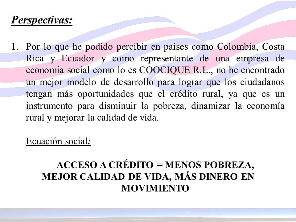 Perspectivas: 1. Por lo que he podido percibir en países como Colombia, Costa Rica y Ecuador y como representante de una empresa de economía social co