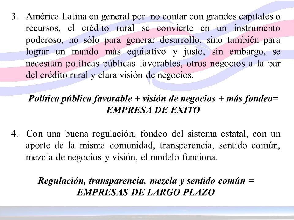 3. América Latina en general por no contar con grandes capitales o recursos, el crédito rural se convierte en un instrumento poderoso, no sólo para ge