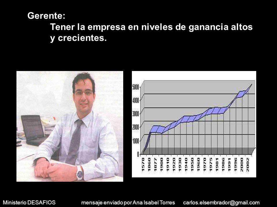 Ministerio DESAFIOS mensaje enviado por Ana Isabel Torres carlos.elsembrador@gmail.com Médico: Tener muchos pacientes y poder comprar una casa grande