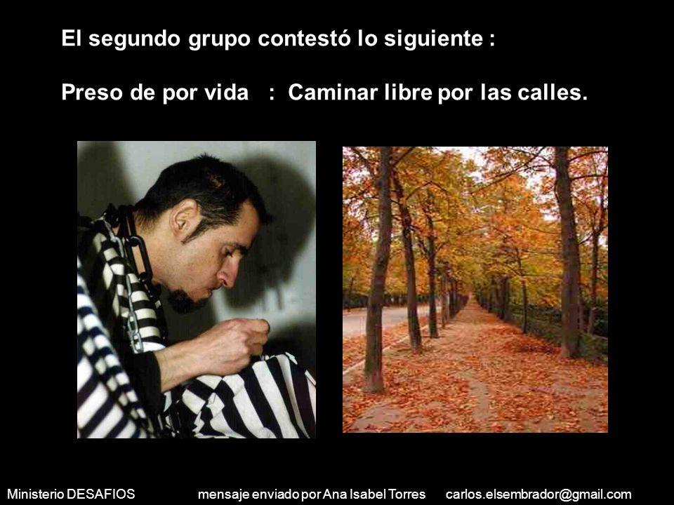 Ministerio DESAFIOS mensaje enviado por Ana Isabel Torres carlos.elsembrador@gmail.com Atleta: Ganar fama y reconocimiento mundial, para estar bien pa