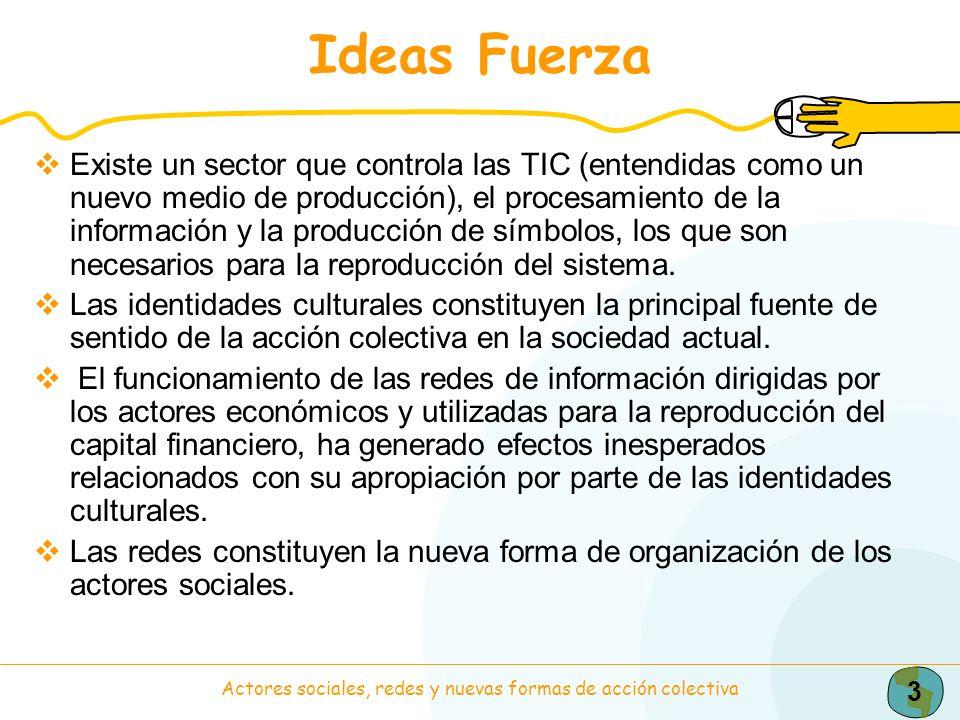 3 Actores sociales, redes y nuevas formas de acción colectiva Ideas Fuerza Existe un sector que controla las TIC (entendidas como un nuevo medio de pr
