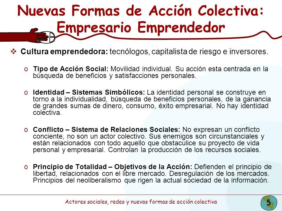 Actores sociales, redes y nuevas formas de acción colectiva 5 Nuevas Formas de Acción Colectiva: Empresario Emprendedor Cultura emprendedora: tecnólog