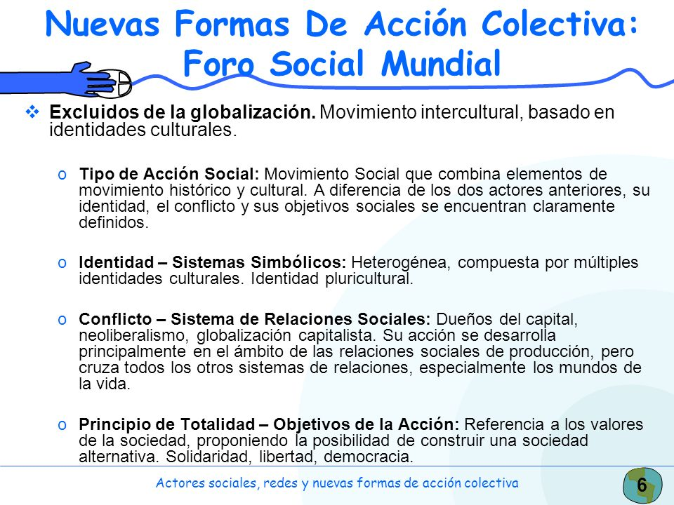 6 Actores sociales, redes y nuevas formas de acción colectiva Nuevas Formas De Acción Colectiva: Foro Social Mundial Excluidos de la globalización. Mo