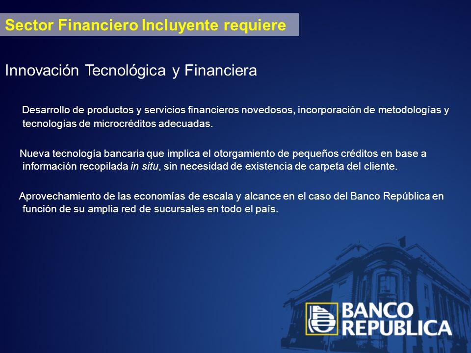 Sector Financiero Incluyente requiere Innovación Tecnológica y Financiera Desarrollo de productos y servicios financieros novedosos, incorporación de metodologías y tecnologías de microcréditos adecuadas.