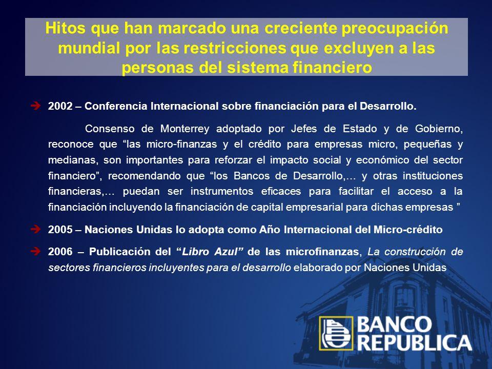 Hitos que han marcado una creciente preocupación mundial por las restricciones que excluyen a las personas del sistema financiero 2002 – Conferencia Internacional sobre financiación para el Desarrollo.