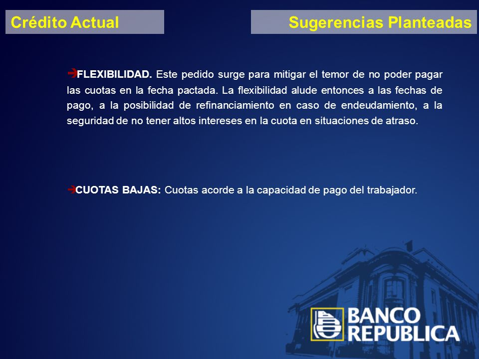 Crédito ActualSugerencias Planteadas FLEXIBILIDAD.