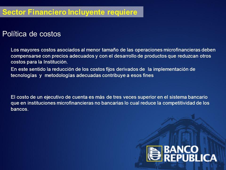 Sector Financiero Incluyente requiere Política de costos Los mayores costos asociados al menor tamaño de las operaciones microfinancieras deben compensarse con precios adecuados y con el desarrollo de productos que reduzcan otros costos para la Institución.