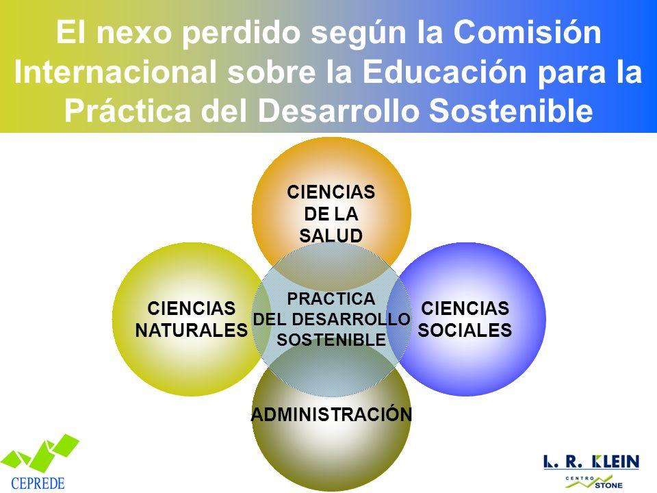 El nexo perdido según la Comisión Internacional sobre la Educación para la Práctica del Desarrollo Sostenible ADMINISTRACIÓN CIENCIAS DE LA SALUD CIENCIAS SOCIALES CIENCIAS NATURALES PRACTICA DEL DESARROLLO SOSTENIBLE