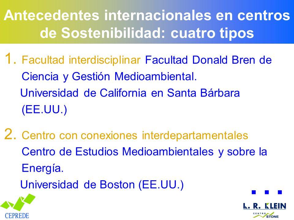 Antecedentes internacionales en centros de Sostenibilidad: cuatro tipos 1. Facultad interdisciplinar Facultad Donald Bren de Ciencia y Gestión Medioam