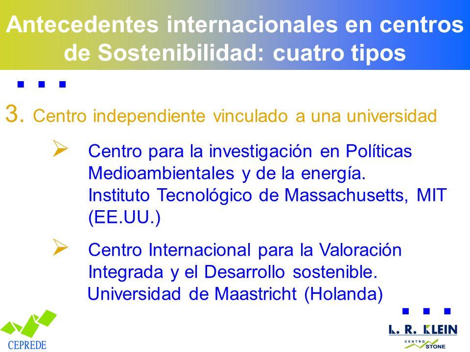 Antecedentes internacionales en centros de Sostenibilidad: cuatro tipos 3. Centro independiente vinculado a una universidad Centro para la investigaci