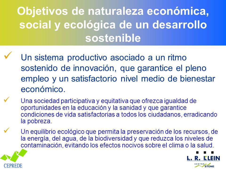 Objetivos de naturaleza económica, social y ecológica de un desarrollo sostenible Un sistema productivo asociado a un ritmo sostenido de innovación, q