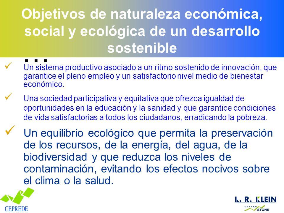 Objetivos de naturaleza económica, social y ecológica de un desarrollo sostenible Un sistema productivo asociado a un ritmo sostenido de innovación, que garantice el pleno empleo y un satisfactorio nivel medio de bienestar económico.