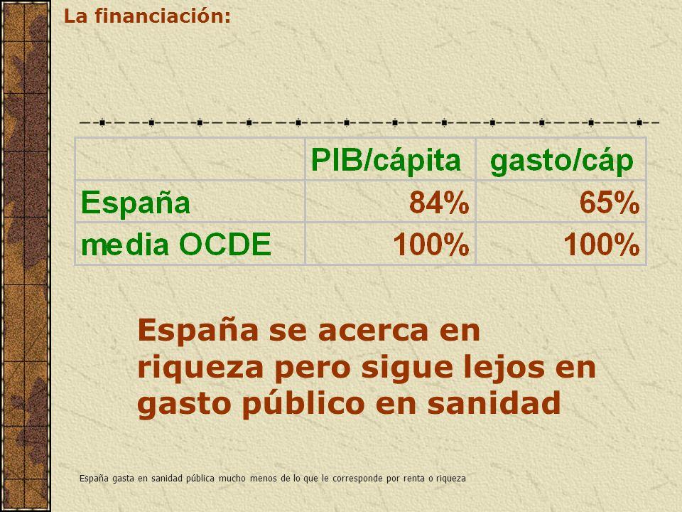España se acerca en riqueza pero sigue lejos en gasto público en sanidad La financiación: España gasta en sanidad pública mucho menos de lo que le cor