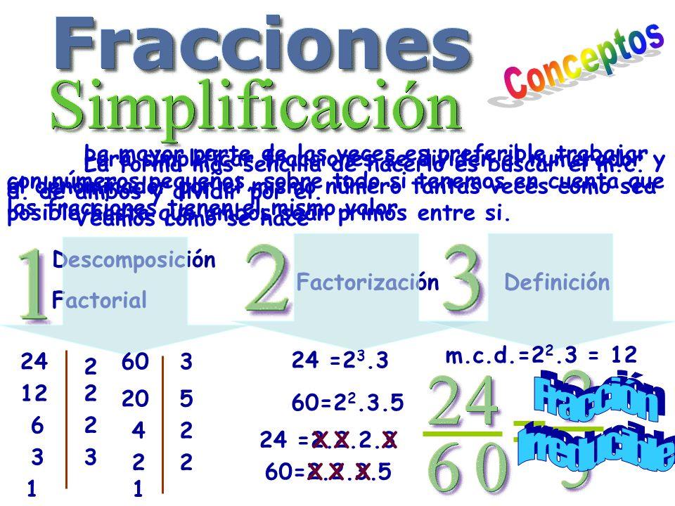 La mayor parte de las veces es preferible trabajar con números pequeños, sobre todo si tenemos en cuenta que las fracciones tienen el mismo valor. Par