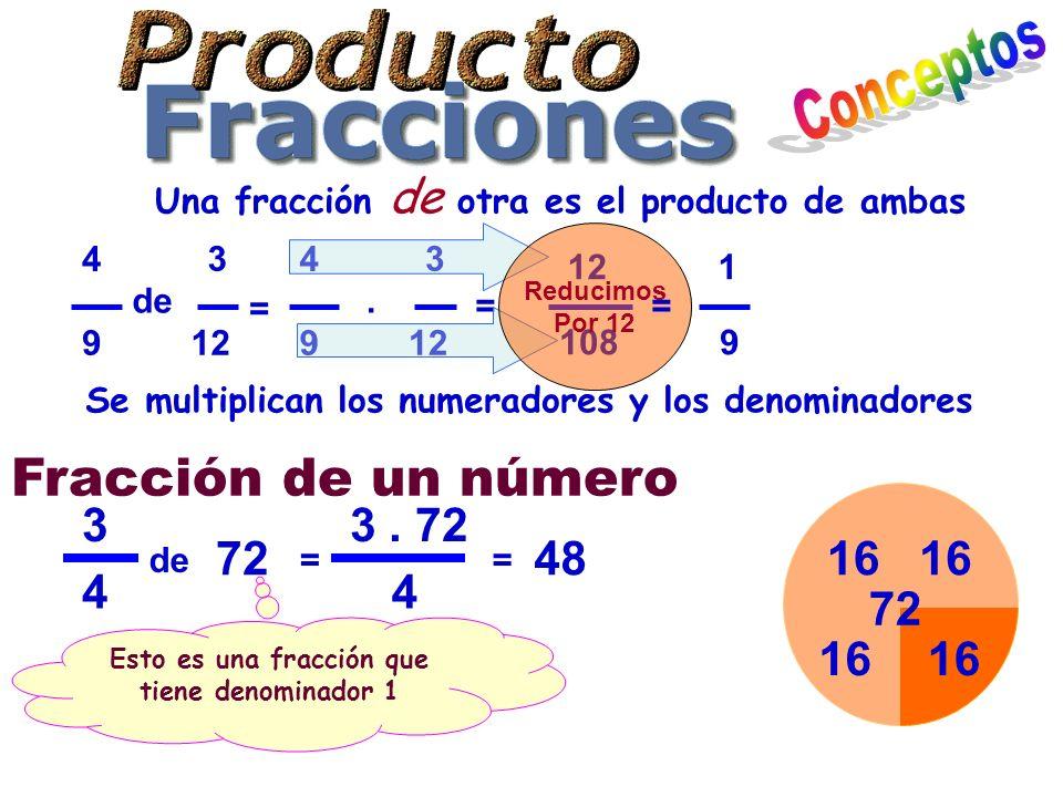 Una fracción de otra es el producto de ambas 3 12 4 9 de 3 12 4 9. = Se multiplican los numeradores y los denominadores = 12 108 Reducimos Por 12 1 9